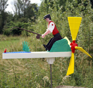 Mechanical Fishing Man - Whirligig - Garden Windmill - Mecnov Fishwell