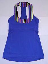 LULULEMON wish blue multi poncho stripe Scoop Neck Tank yoga top size 4