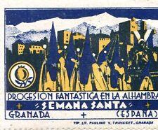 Poster Stamp Label SEMANA SANTA Granada Spain PROCESSION  en la ALHAMBRA