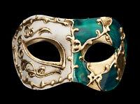 Maschera Di Venezia Columbine Arlecchino Verde E Dorata Per Ballo 53 V48