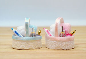 Miniature Nursery Basket Cream Nappies Baby Towel Perfume Pram Toy Dolls House
