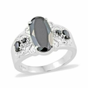Natural Thai Black Spinel Ring in Stainless Steel (Size 10.0) 6.80 ctw