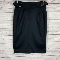 Anthropologie MAEVE Womens Black Pencil Skirt Size 2 Pleated Below Knee