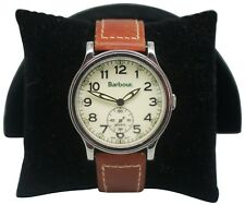 Barbour Japanese Quartz Movement Wrist Watch Brown Leather Band Stainless Steel
