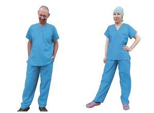 NHS Cotton Unisex Hospital Scrub Doctor Nursing Scrubs 2 Piece with 4 x pockets