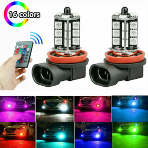 16Color RGB H11/H9/H8 LED Bulbs For Fog Light Driving Lamp w/ Wireless IR Remote