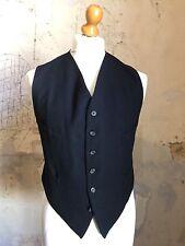 Vintage 1930's Bespoke Henry Poole Savile Row Black Barathea Waistcoat Size 40
