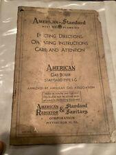 Antique Gas boiler 1-G American Radiator Standard Sanitary Pittsburgh Pa Instr.