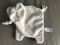 M&S Elephant Baby Comforter White Blankie Soft Toy Swirls 02016634 flat Blanket