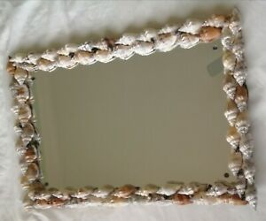 Handcrafted Sea Shell Framed Mirror, Quality Lacquered Finish, Fittings Inc