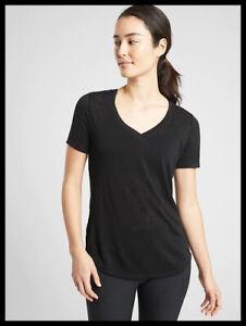 Athleta NWT Women's Breezy Scoop V Tee Size Med Petite Color Black