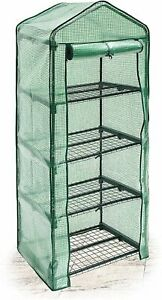 Vencier 4 Tier Mini PVC Plastic Greenhouse Outdoor Garden Steel Frame Grow House