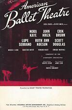 "Nora Kaye ""American Ballet Theatre"" Erik Bruhn / John Kriza 1956-57 Flyer"