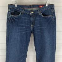X2 Womens Size 12 Stretch Blue Medium Wash Detailed Distressed Flare Denim Jean