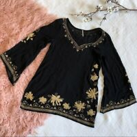 Free People Black Embroidered Bell Sleeve Tunic Top Floral Boho Women Sz XS