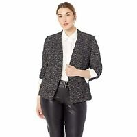 RACHEL Rachel Roy Women's Open Front Long Sleeve Frankie Jacket (Black , 0X)