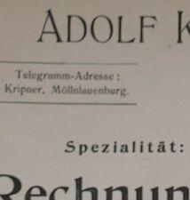 ALTE RECHNUNG MÖLLN LAUENBURG BELEUCHTUNGSARTIKEL FABRIK ADOLF KRIPNER CA 1912