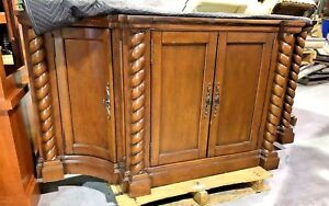 20th Century LARGE Antique Carved Wooden Walnut CABINET Spiral Sides Cupboard