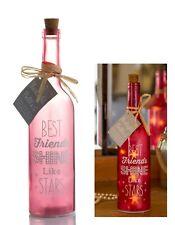 Best Friends Glanz Sterne Licht LED Beleuchtung Glasflasche Geschenk Lampe Pink