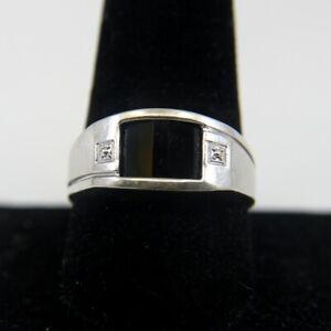 Gent's 10K White Gold Black Stone Ring 4.2g Size 10.5 (KS1010093)