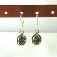 Abalone/Paua Shell Inlay 925 Sterling Silver Fishhook Drop/Dangle Earrings