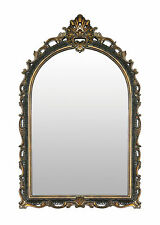 """French Antique Style Arched Crown Acanthus Scrolls Black Gold Wall Mirror 41""""H"""
