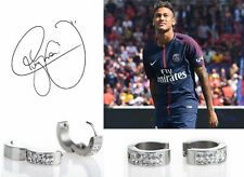 Men's NEYMAR : PSG 18ct White Gold Plated Crystal Diamond Effect Huggie Earrings