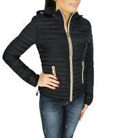 Giubbotto piumino donna nero casual giacca giubbino invernale con cappuccio