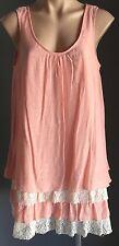 NWT Peach CROSSROADS Sleeveless Layer Lace Trim Tunic Dress Long Top Size 12