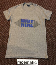 Vtg 70s 80s Nike Blue Tag Barbell Weightlifting Tri Blend Rayon T Shirt Pinwheel