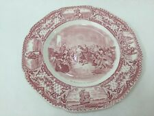 """Vintage Colonial Times by Crown Ducal Pink England Plate, 10 1/4"""" D"""
