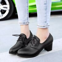 Womens Cuban Heels PU Leather Lace Up Oxfords Brogue Work Shoes Plus Size