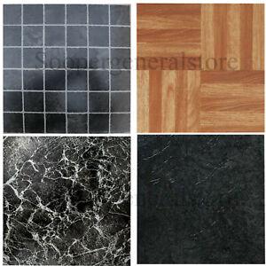 Vinyl Self Adhesive Tiles Black Marble Effect Wood Kitchen Bathroom Floor Tiles