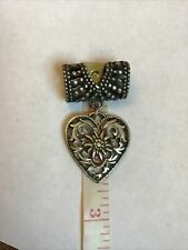 More details for old vintage heart shape scarf ring lovely  detail ❤️ 2 1/2 inches