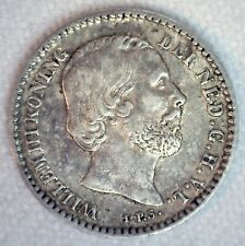 1881 Netherlands Silver 10 Cents Coin Dot After Date Extra Fine Circulated