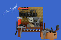 LEGO workbench, tools and machine tools saw drill press vice mechanics