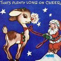 Vintage Mid Century Christmas Greeting Card Santa Claus Reindeer Rudolph FoldOut