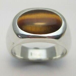 Naturale di Tigre Occhio Gemma Con 925 Anello Argento Sterling per Uomo EG1781