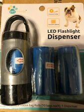 Pet Waste Bag Dispenser w/ Led Flashlight 30 Refill Bags Fast Shipping