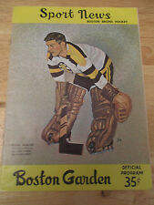 Boston BRUINS 1961 Program vs MONTREAL CANADIENS Frank Brimsek Jacques Plante