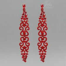 Red Crystal Rhinestone Pageant Long Drop Dangle Earrings 04641 Wedding Prom