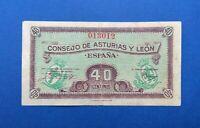 40 centimos 1936 sin serie número bajo  Consejo de Asturias y León 013012 España