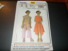 Burda Pattern 9655 Girls Top~Dress w/Asymmetrical Hem & Pants Sz 4-10 BOHO!