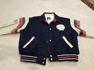 vintage 80s USA OLYMPICS Training Center Varsity Jacket leather size XL