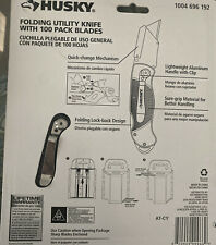 Husky Folding Utility Knife with 100- Pack Blades NIP