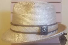 STACY ADAMS MENS FEDORA HAT *BEIGE W/ BROWN TRIM *M* NEW WITH TAGS!