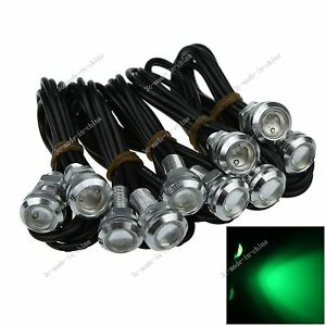 10X 23MM 3W LED Eagle Eye Green Daytime Running DRL Light Car Motor Silver O503