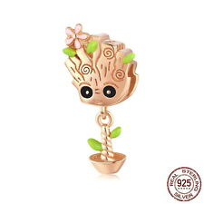 Groot / Treant Bead / Charm solid Sterling Silver and plated in Rose Gold