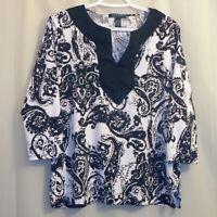Lauren Ralph Lauren Blouse Women's Large L Black White 3/4 Sleeve