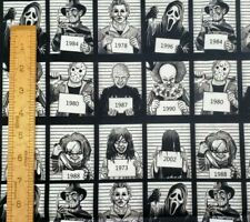 Custom Horror Movie Mugshots Cotton Woven Fabric by the 1/2 Yard SHIPS FAST!!!
